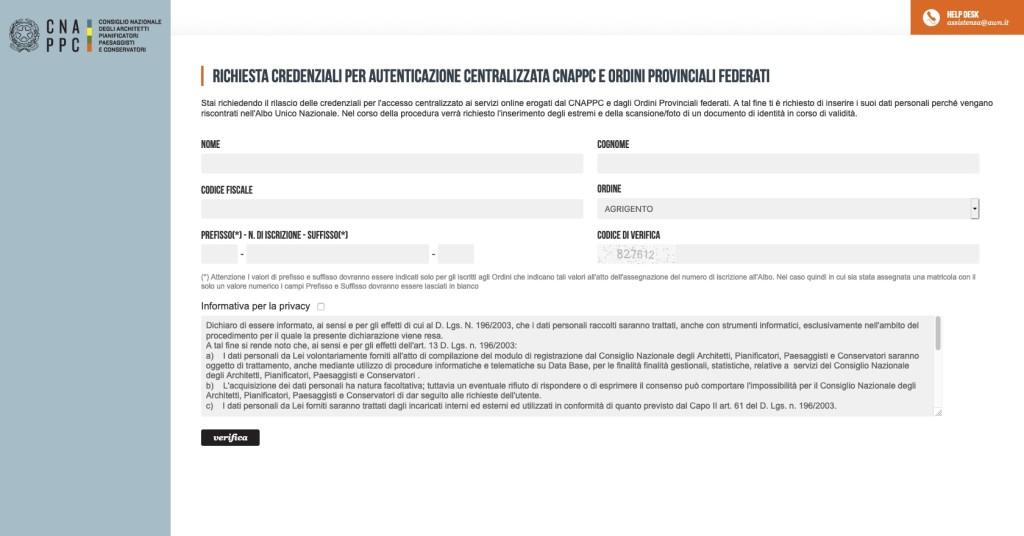Richiesta Credenziali per accesso centralizzato Imateria